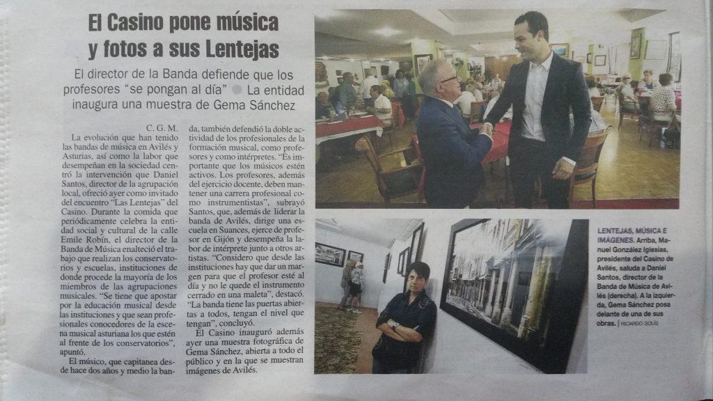 Recorte de prensa Exposición fotográfica de Gema Sánchez en el casino de Avilés
