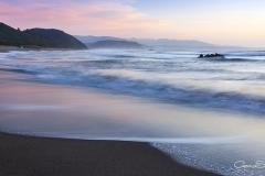 Playa de Bayas anochecer
